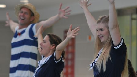 Swim stars Mark Foster and Rebecca Adlington join in with a Victorian swimming lesson at the Westmin