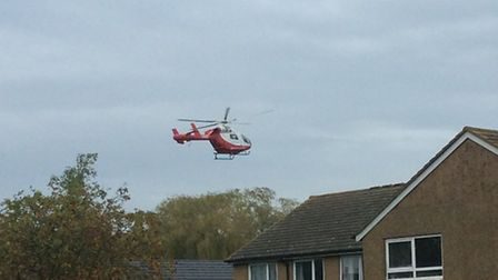 An air ambulance was called after a man in his 60s fell down the stairs in Wheathampstead. Credit: C