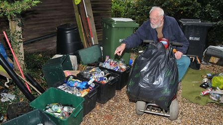 88-year-old Jack Hill who collects litter from his motorised scooter with less than a weeks worth of