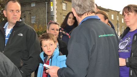 Ghost Walk founder Damien O'Dell (right) on the trail in Royston