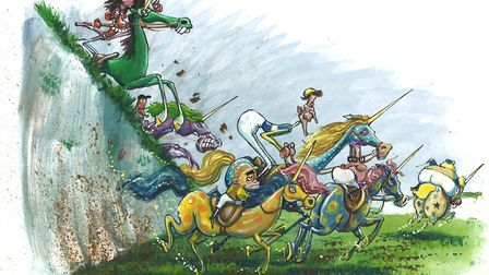 Unicorn Grand National. Illustration by Martin Rowson for The New European.