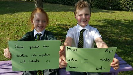 Lily, 8, and Tom, 9, from Fair Field Junior School, which is looking to raise £15,000 to pay for sol