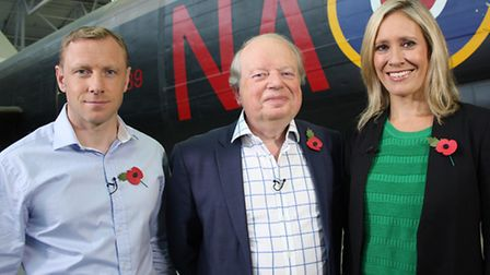 Andy Torbet, John Sergeant and Sophie Raworth next to the Avro Lancaster in the AirSpace exhibition