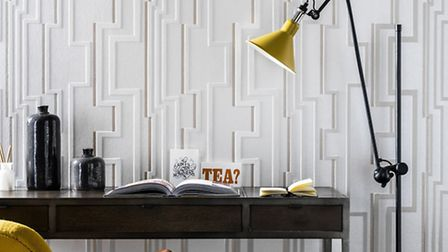 Groove wallpaper, white gold, by Kelly Hoppen. Credit: PA Photo/Handout