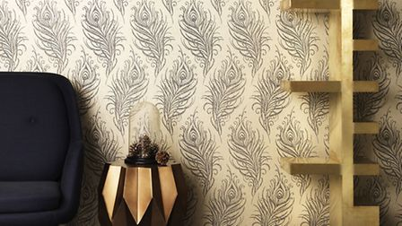 Quill wallpaper, in gold, £20 a roll, available from Graham and Brown. Credit: PA Photo/Handout