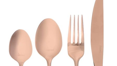 16-piece copper effect cutlery, £32, available from Next. Credit: PA Photo/Handout