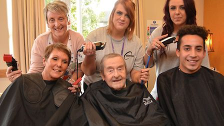 Staff at Field Lodge Care Home, St Ives, shaving their hair for charity, (front l-r) Lisa Houghton,