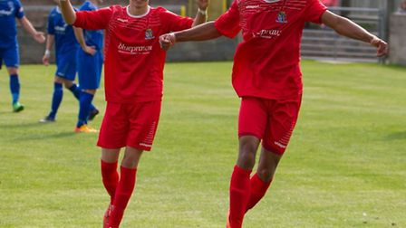 Nathan Frater (right) celebrates scoring for St Neots Town at Chippenham earlier in the season. Pict