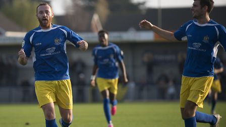 Harry Crawford (left) celebrates his goal. Picture by Bob Walkley