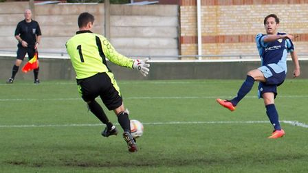 Fit-again Drew Roberts in action for St Neots Town last season. Picture: CLAIRE HOWES.