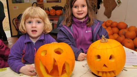Florrie, 3 and Meredith Eastmond, 6 with their carved pumpkins