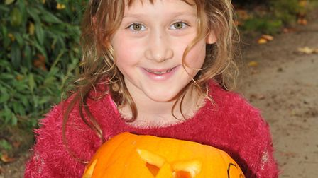 Zara Sparkes, 7 with her carved pumpkin