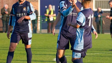 Mat Mitchel-King celebrates his opening goal as St Neots Town beat Bedworth United 2-0 in the first