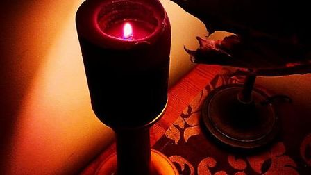 Purple candle at Halloween