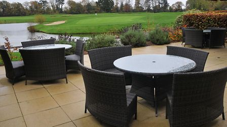 The private terrace of the newly refurbished Aldwickbury Golf Club function room