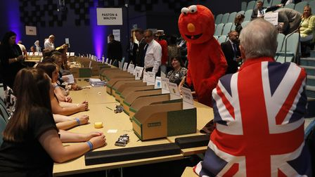 The Peterborough by-election count. (Photo by Darren Staples/Getty Images)