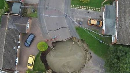Aerial view of the St Albans sinkhole.