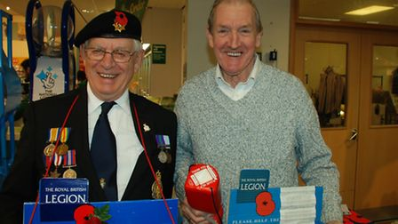 Norman Davies and Don Dell are raising funds for the annual British Legion Poppy Appeal, at Morrison