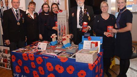 Don Dell, Wendy Dell & Manny Bloomer with staff from Natwest Bank at the Poppy Appeal launch.