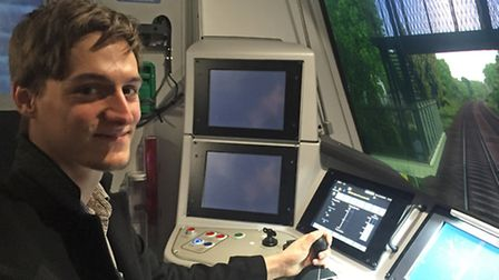 Herts Ad reporter Taylor Geall using Thameslink's brand-new train simulator in Crawley