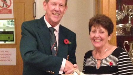 Royston Golf Club captain Nigel Thomas with ladies' captain Libby Toby