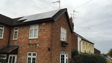 Solar panels on a private house in Wheathampstead