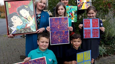 Artists, Valerie Jean Pettifer and Irene Wilkes with their art work and pupils, Archie, Elizabeth, N