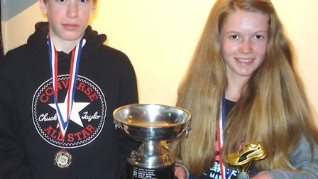 Joey Croft and Shannon Flockhart led the Hunts AC junior squad to Frostbite Friendly League success.