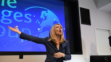 Conservative leadership hopeful Esther McVey at a Bruges Group meeting. (David Mirzoeff/PA Wire)
