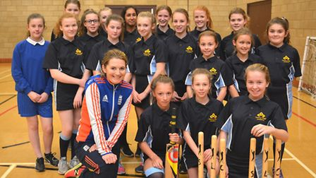 England Women's captain Charlotte Edwards coaching girls at One Leisure in Sawtry. Picture: HELEN DR