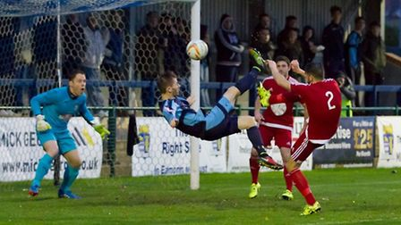 St Neots striker Tom Meechan was sent off. Picture: CLAIRE HOWES