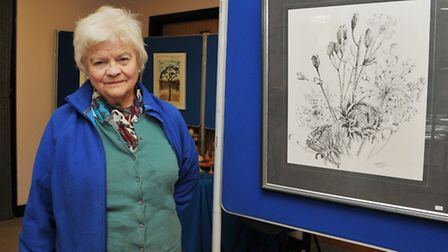 Artist Rowena Selby-Althan with her artwork at the Foxton art exhibition