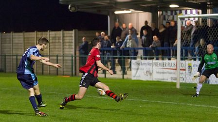 Tom Meechan hits the only goal in St Neots Town's victory against Dunstable recently. Picture: CLAIR