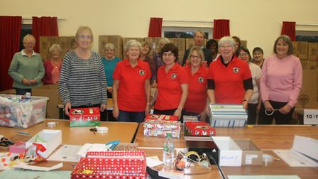 Volunteers and church-goers at St Mark's Church in Colney Heath collecting for Operation Christmas C