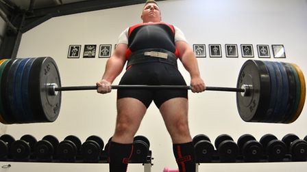 Chris Hartwig in training ahead of the Commonwealth Powerlifting Championships.