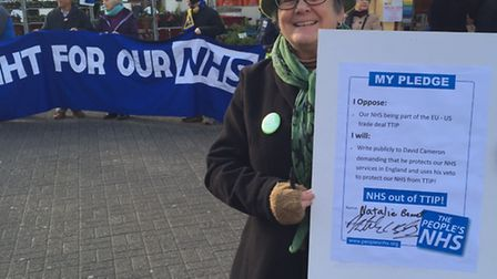Jill Mills, from the People's NHS, on St Peter's Street collecting signatures for a petition urging