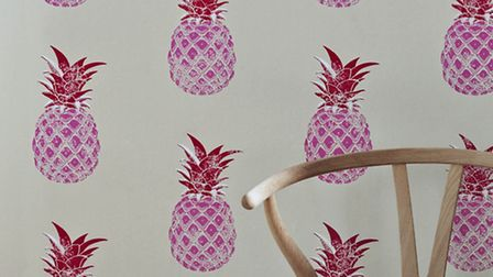 Red & Pink Pineapple Wallpaper, £78 a roll, available from Luku Home.