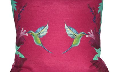 Pink Hummingbirds Cushion by Blooming Briony Designs.