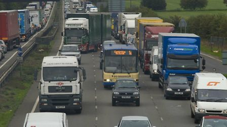 Rush hour traffic builds up on the A14 between Brampton and Cambridge Road Fen Drayton