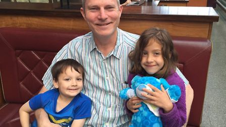 Ed Suttie, with son Alex, 5, and daughter Madeline 7