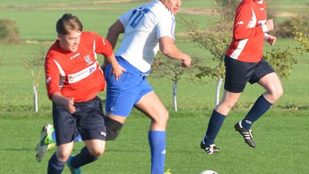 AFC Barley Mow goalscorer Josh Turner in action against Offord United last Saturday. Picture: HELEN