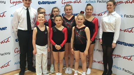 Rotations Trampoline Club members at the National League Finals. Pictured are, back row, left to rig