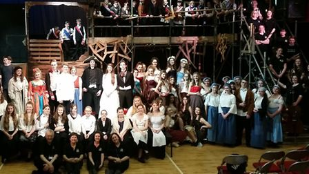 Meridian Upper School production of Les Miserables - the cast on stage