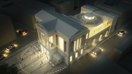 Proposed new St Albans Museum and Art Gallery at night
