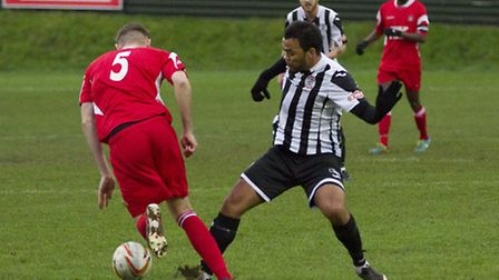 Scott Joseph during his St Ives Town debut at Northwood. Picture: LOUISE THOMPSON