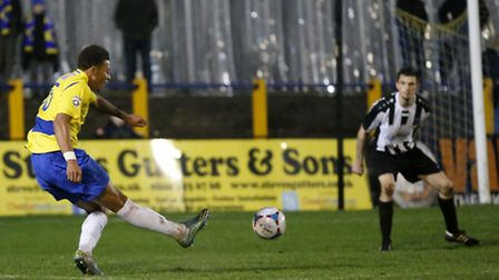 Jonathan Edwards scores the Saints third goal of the evening. Picture: LEIGH PAGE