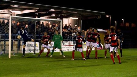 Tom Meechan sees a goal disallowed as St Neots Town were beaten 1-0 by Kettering Town. Picture: CLAI