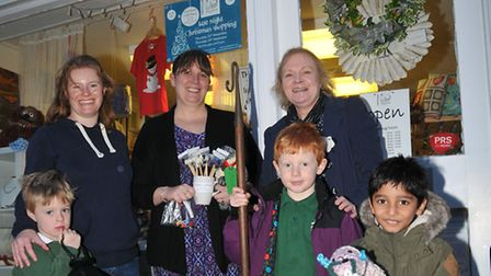 Joe, 4, Claire Yelton, Number 3 owner Laura Whitford, Oliver Yelton, 6, Flock to the Shops organiser