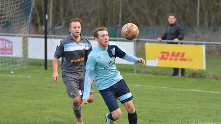 Tom Spark on the ball for Godmanchester Rovers in their 3-0 victory against Norwich United. Picture: