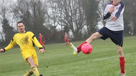 Alex Vaughan scores Wheathampstead Swan's opening goal